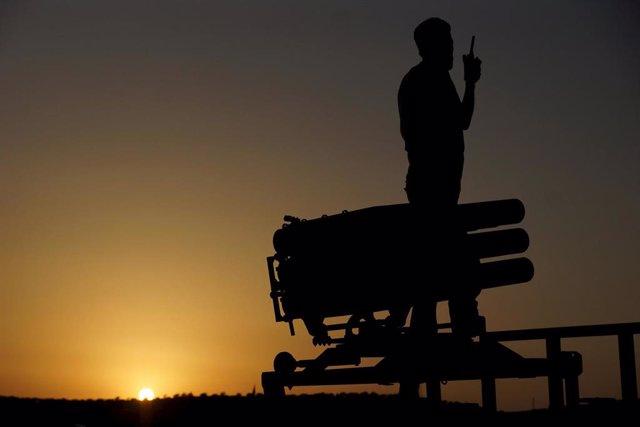 Lanzadera de cohetes en Siria
