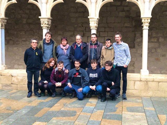 El president de la Generalitat, Quim Torra, amb estudiants tancats en UdG