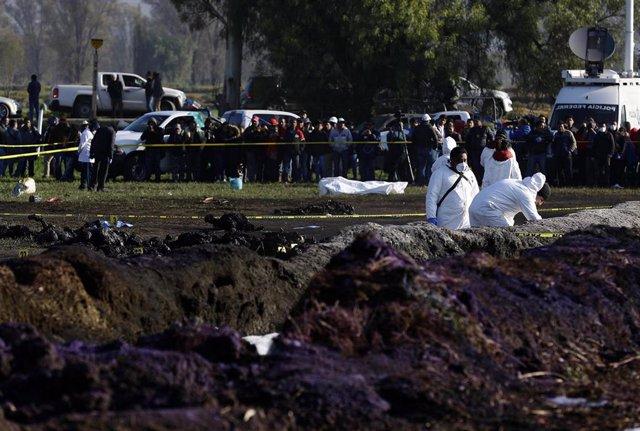 Explosión de un oleoducto en México.