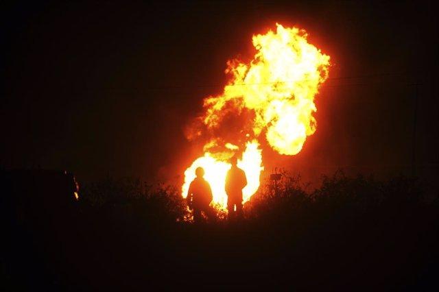 Explosión de un oleoducto de Pemex, en Acolman, México.