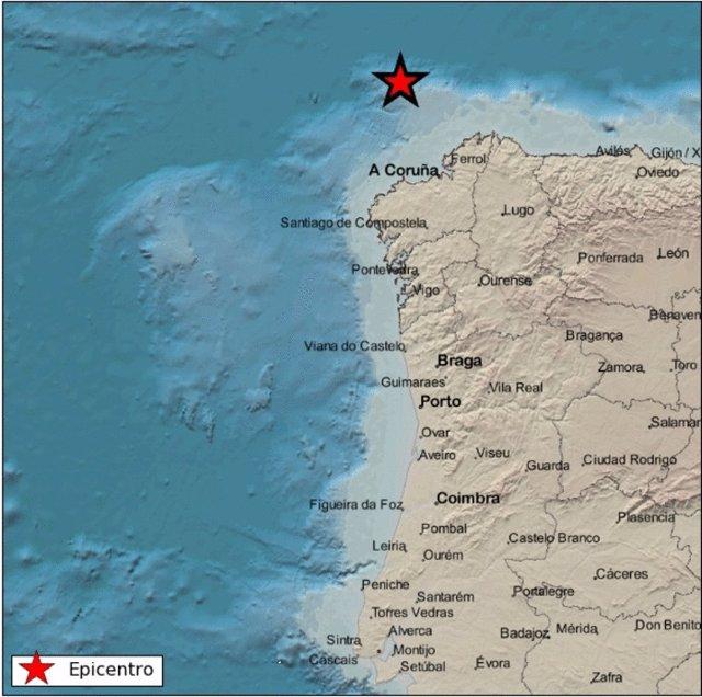 Terremoto registrado en el mar cerca de la costa gallega el 21 de enero de 2019.