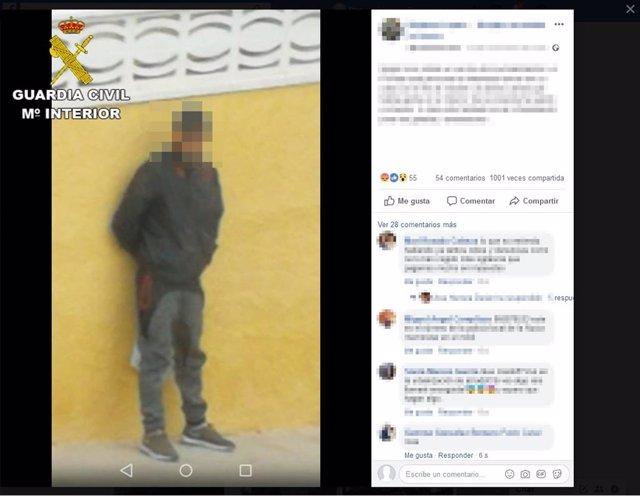 Foto publicada en una red social que permitió detener al ladrón