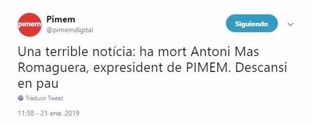 Tweet Pimem sobre muerte de Antoni Mas