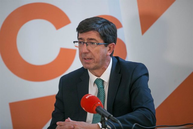Juan Marín, líder de Cs en Andalucía, durante una entrevista con Europa Press.