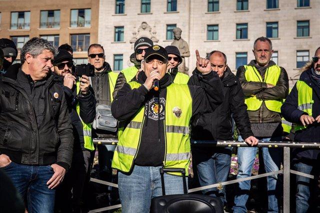 Manifestació de taxistes a Barcelona.