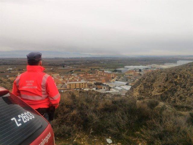 Policía Foral, pendiente de la nube tóxica procedente de La Rioja.