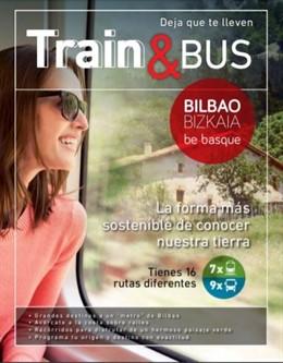 Folleto de rutas por Bilbao y Bizkaia en transporte público