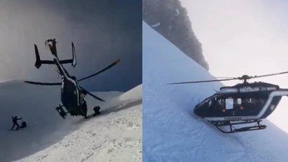 Un helicóptero hace un espectacular aterrizaje para rescatar a un esquiador herido en los Alpes franceses