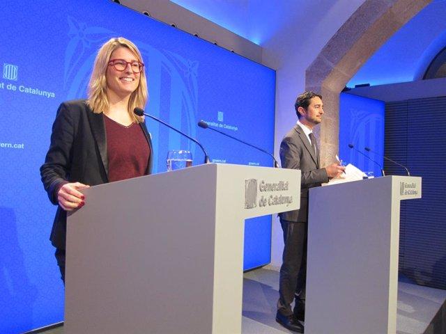 La portaveu, E.Artadi, i el conseller de Territori i Sostenibilitat, D.Calvet
