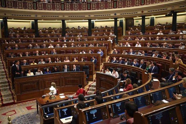 Pedro Sánchez y los diputados del Grupo Socialista