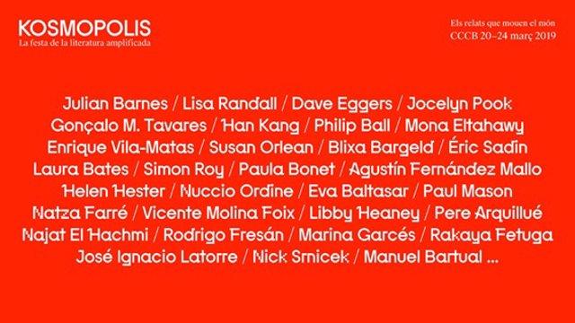 Kosmopolis suma Julian Barnes, Dave Eggers, Enrique Vila-Matas i Marina Garcés.
