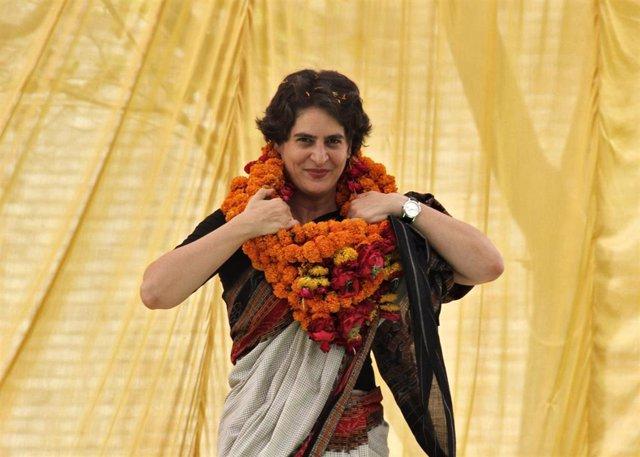 Priyanka Gandhi Vadra en un mitin electoral en Rae Bareli, India