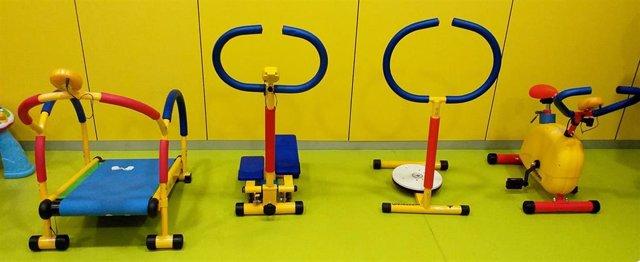Mini gimnasio en el área de Pediatría del Hospital Río Hortega de Valladolid