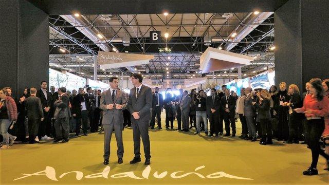 Juanma Moreno y Juan Marín, en la inauguración del espacio de Andalucía en Fitur