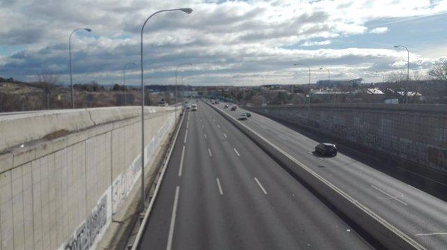 Carretera M-40 tras la movilización de los taxistas