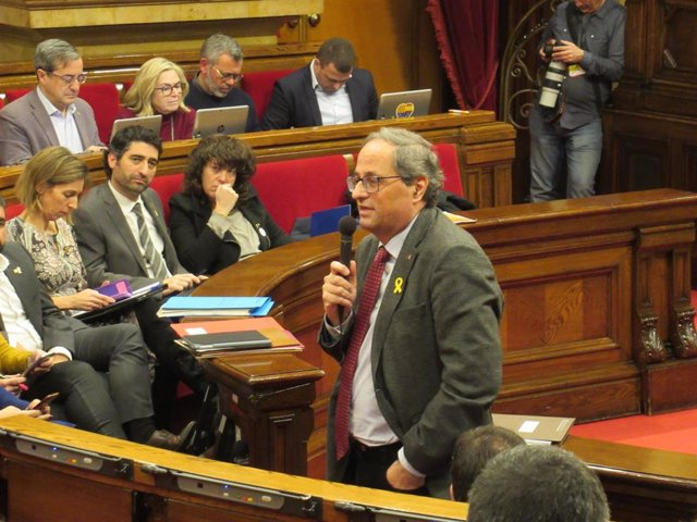 El Presidente De La Generalitat, Quim Torra, En El Pleno Del Parlament