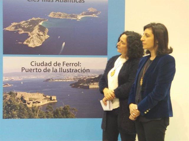 La consejera gallega de Medio Ambiente, Ángeles Vázquez (derecha), en Fitur