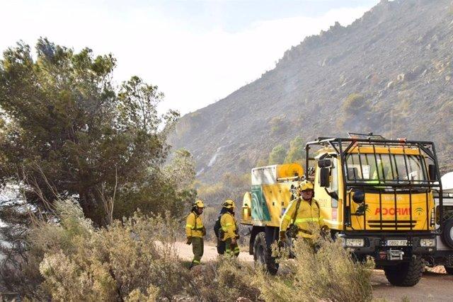 Operativos en el incendio declarado en la zona de Cerro Gordo, Granada