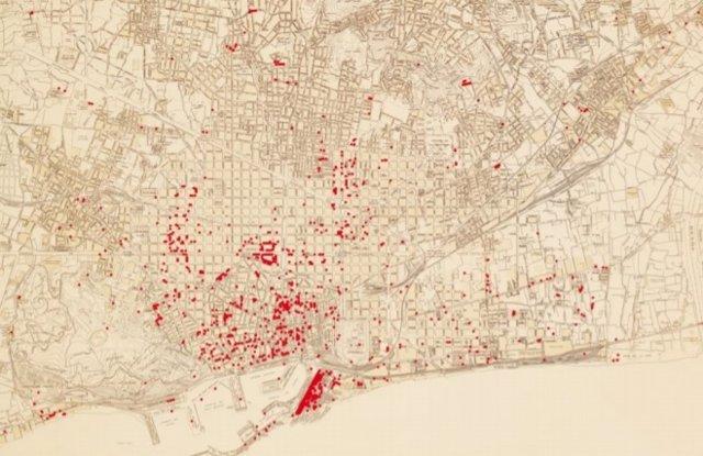 Geolocalización de bombardeos en inmuebles de Barcelona
