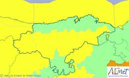 Mapa de avisos para este jueves en Cantabria