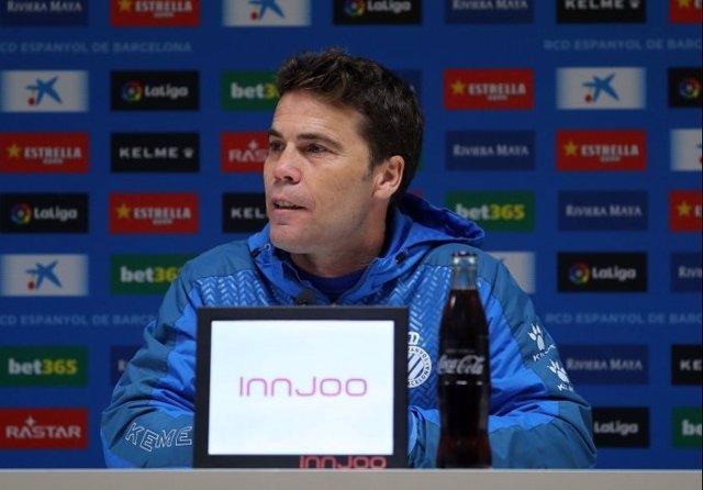 El entrenador del RCD Espanyol, Rubi, en rueda de prensa
