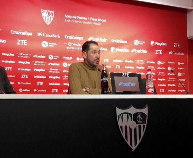 El entrenador del Sevilla FC, Pablo Machín, en rueda de prensa