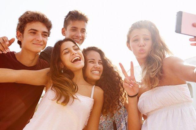 Adolescentes, fotos, selfies, amigos, jóvenes