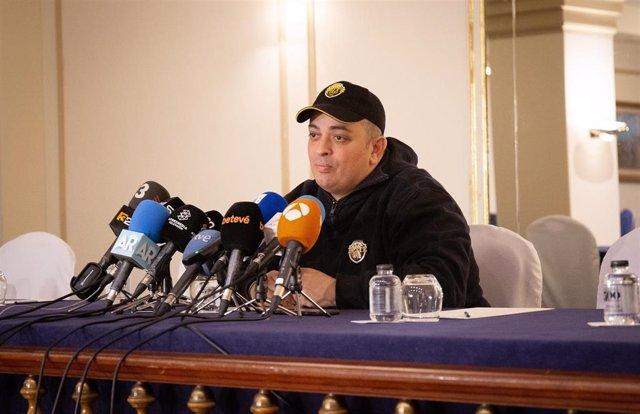 El portavoz de Élite Taxi Barcelona, Tito Álvarez, en rueda de prensa