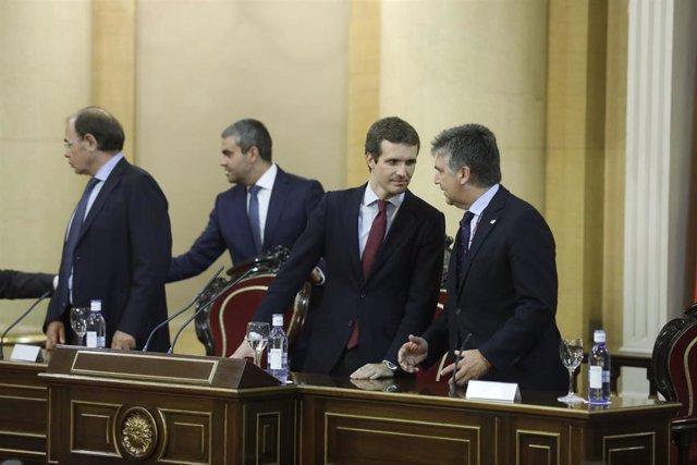 El presidente del PP, Pablo Casado, en una reunión del PP del Senado