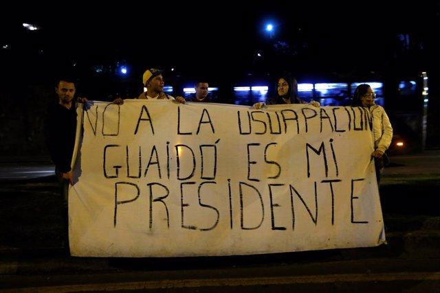 Protesta en favor de Juan Guaidó en Bogotá