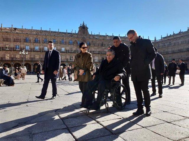 Lenin Moreno en su visita a la Plaza Mayor de Salamanca.