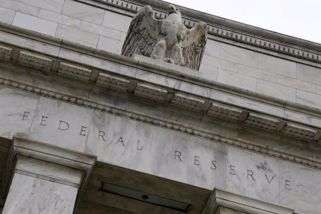 An eagle tops the U.S. Federal Reserve building's facade in Washington.