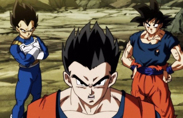 Vegeta, Gohan y Goku en Dragon Ball Super