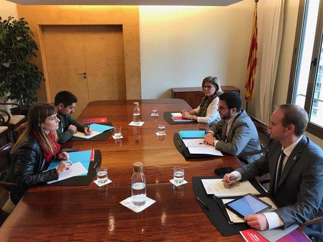 Reunión del vicepresidente P.Aragonès con J.Albiach y D.Cid (CatECP)