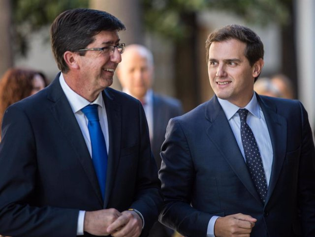 Albert Rivera y Juan Marín, la pasada semana en el Parlamento andaluz