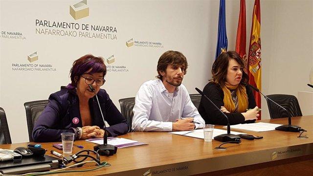 Tere Saéz, Mikel Buil y Ainhoa Aznárez.