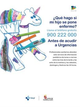 Cartel del teléfono de información sobre urgencias pediátricas