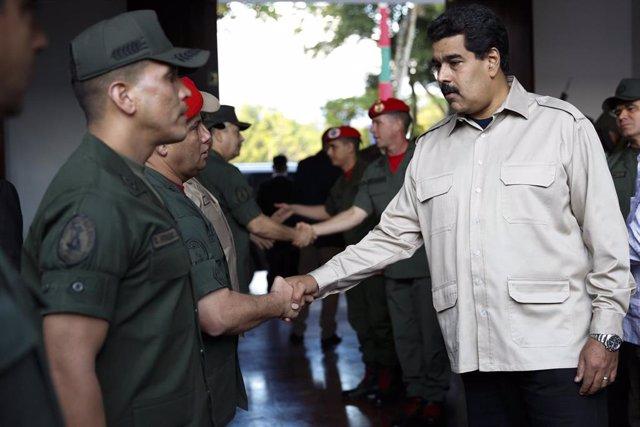 El presidente de Venezuela, Nicolás Maduro, en un acto militar