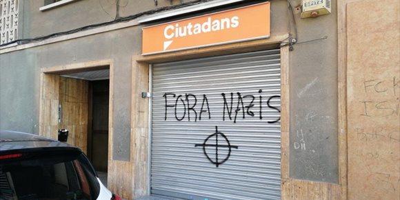 2. Cs condena las pintadas en su sede en Montcada i Reixac (Barcelona)
