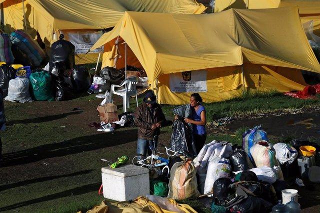 Campamento de migrantes venezolanos desmantelado en Bogotá (Colombia)