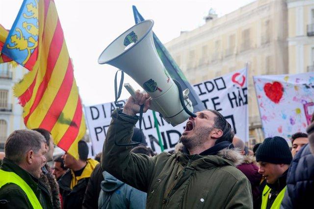 Concentració de taxistes de Madrid a la Puerta del Sol