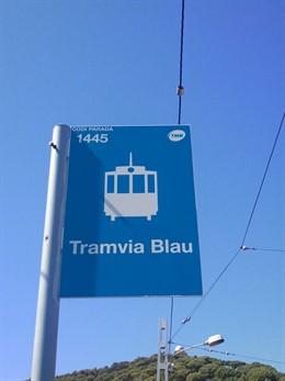 Cartell d'una parada del Tramvia Blau de Barcelona