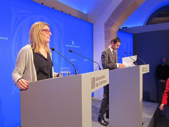 La portaveu del Govern catal Elsa Artadi i el conseller de Territori Dami Calv