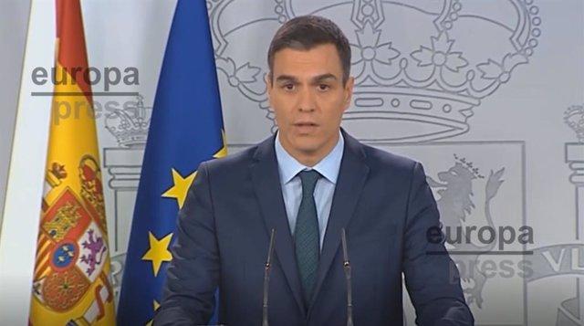 Pedro Sánchez comparece en la Moncloa para anunciar que reconocerá a Guiaidó com