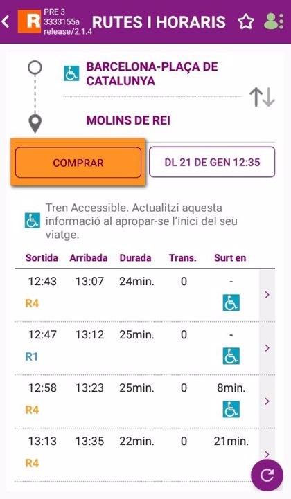 Renfe permet la compra de títols de transport des de l'aplicació mòbil de Rodalies