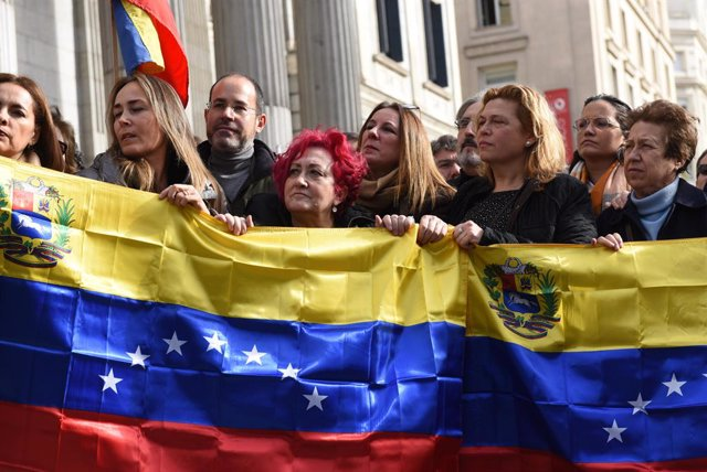 Protest in support of Venezuelan opposition leader in Madrid