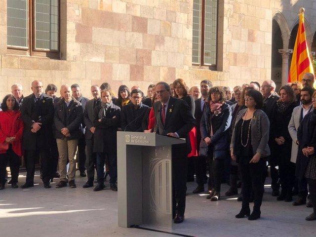 El president Quim Torra en un acte de suport als presos