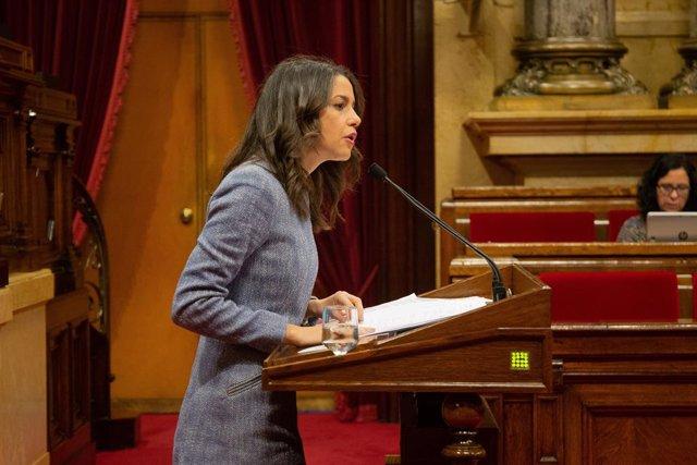 La líder de Cs a Catalunya,  Inés Arrimadas, en el ple del Parlament