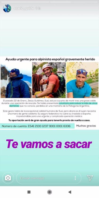 """Familiares de un alpinista madrileño recaudan fondos para traerle desde Argentina tras sufrir un """"grave"""" accidente"""