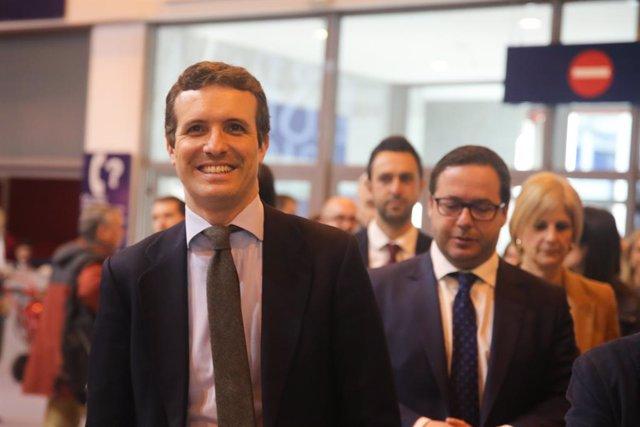 El presidente del Partido Popular, Pablo Casado, visita la Feria Internacional d